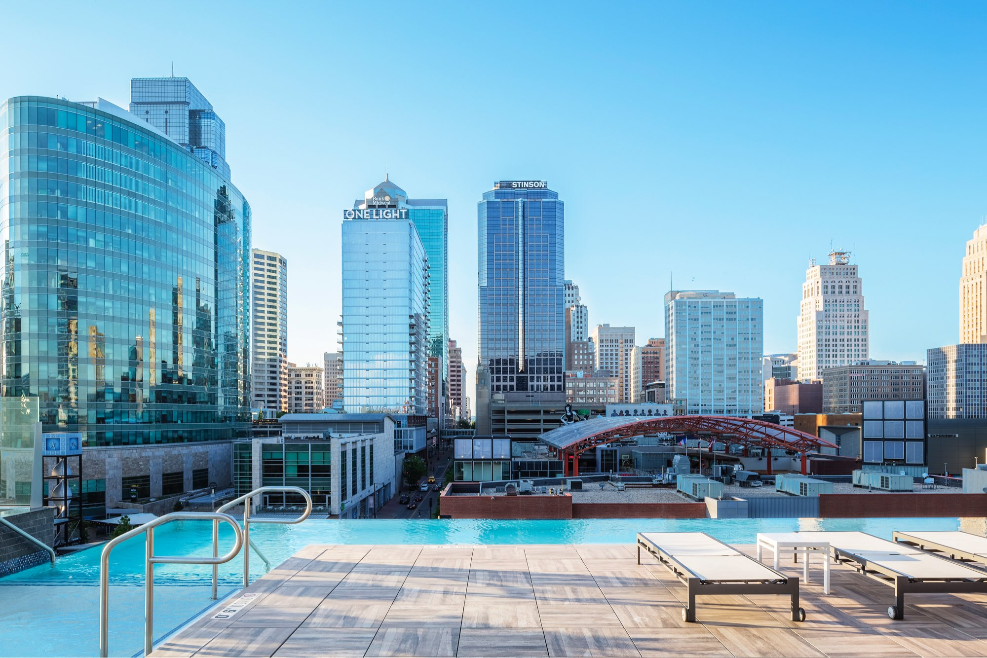 Infinity Edge Rooftop Pool at Two Light Luxury Apartments